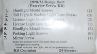 Dodge Dart 1970 1971 1972 Exterior Trim Moulding Screws Kit 24 Screws