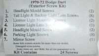 Dodge Dart 1970 1971 1972 Exterior Trim Moulding Screws Kit 24 Screws