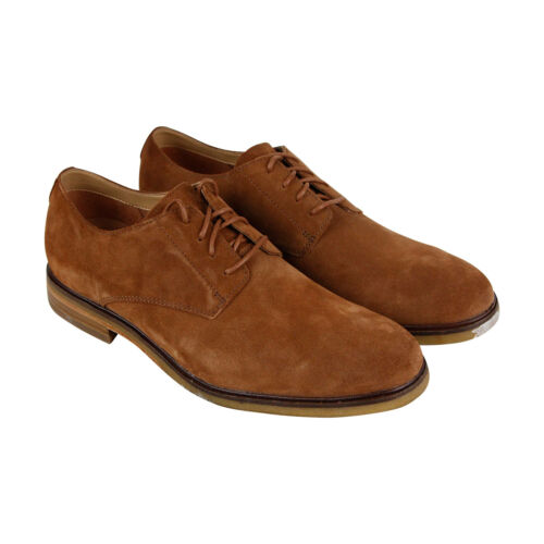 Clarks Clarkdale Moon Mens Tan Brown Suede Comfort Casual Lace Up Oxfords Shoes