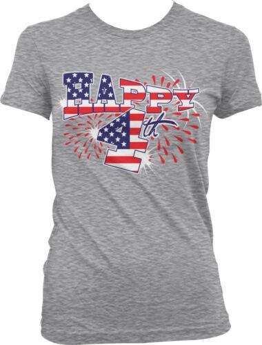 Happy 4th of July USA Flag America Patriotic United States Juniors T-shirt