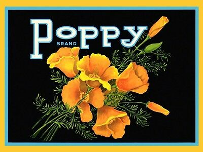 Crate Label Beautiful Poppy Yellow Flowers Fine Vintage Poster Repro FREE S//H