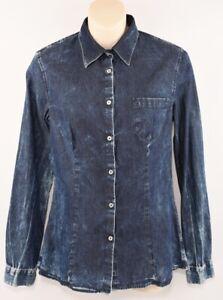 PIERRE-BALMAIN-Women-039-s-Washed-Denim-Effect-Cotton-Shirt-size-SMALL