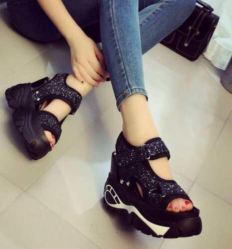 Womens Sneakers Sequins Platform Wedges Heel Shiny Sport Sandals High Heels Shoe
