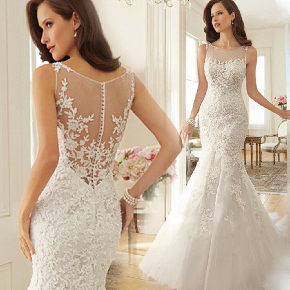 Women's Elegent Wedding Dress Seelveless White Lace Chiffon Floor Length Prom Dr