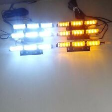 9X 6 barras de rejilla de Coche LED luz ámbar intermitente luz estroboscópica de recuperación de emergencia Blanco