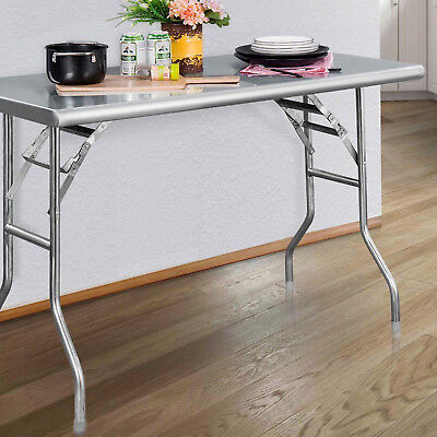 Stainless Steel Folding Table 48x24in Portable Kitchen Garage Metal Work Station