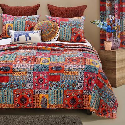 BEAUTIFUL CHIC BOHO BOHEMIAN GLOBAL SOUTHWEST RED ORANGE BLUE TEAL QUILT SET