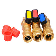 3pcs R410a 14 Sae Refrigerant Straight Ball Valves For Ac Charging Hoses Brass