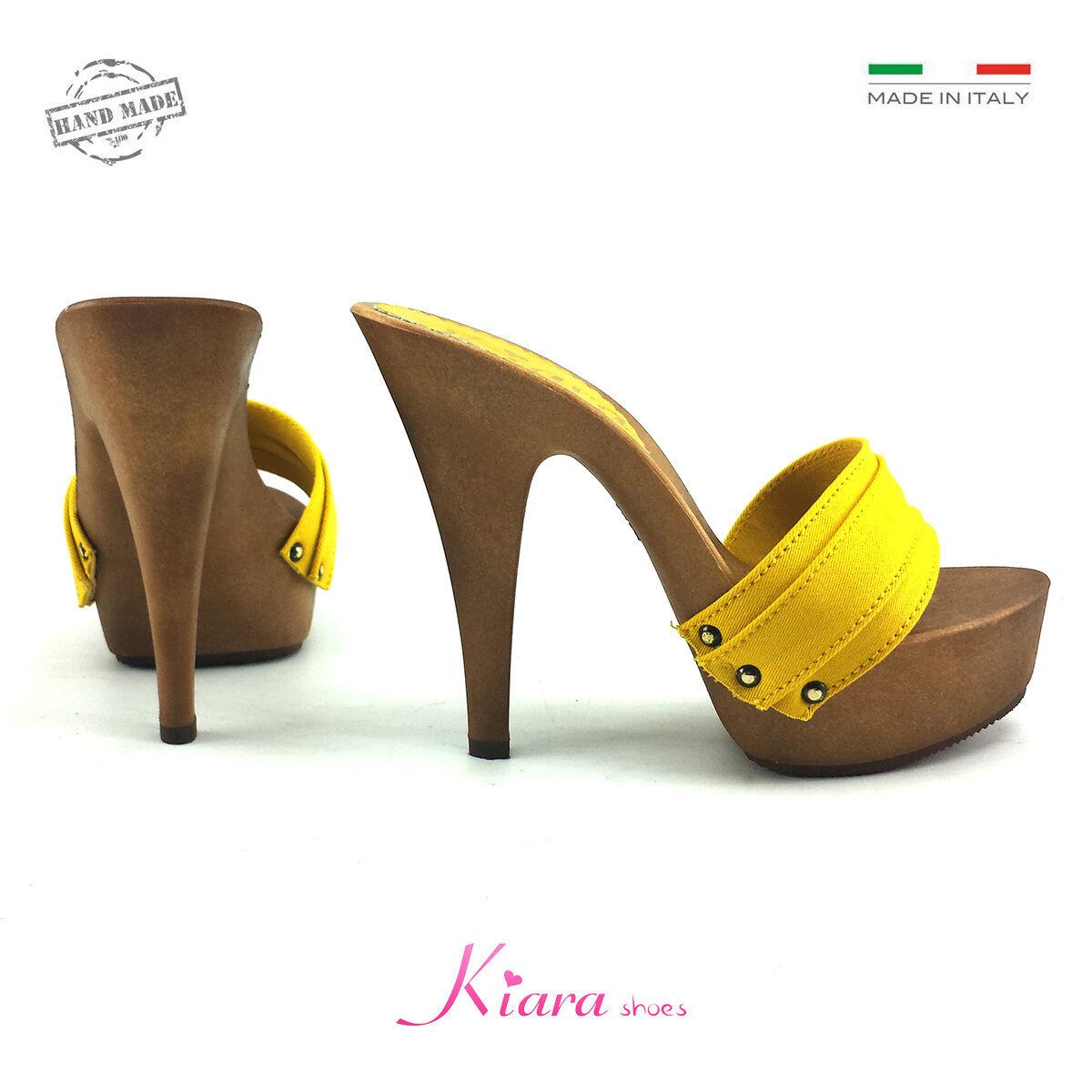 Zuecos Amarillo Base Mou Zapatos Made in Italy 35-36-37-38-39-40-41 Talón 13