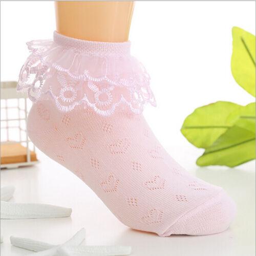 Baby Mädchen Kleinkind Baumwolle Spitze Rüschen Prinzessin Mesh Socken Kinder xj