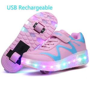 Kids Led Light Up Roller Skates Shoes Kids Double Wheels Sneakers ... 65852a9cb7e7