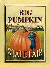 Big Pumpkin State Fair Halloween Carnival Festival Harvest Fall Metal Sign