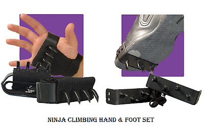 Ninja Gear Black Climbing or Ice Walking Foot Spikes Fully Adjustable 2pcs Set