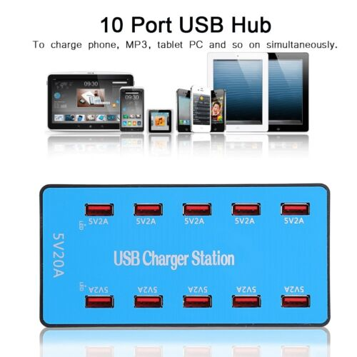 Multi Port USB Charger 10-Port Adapter Travel Wall Hub Charging Station 20A 5V