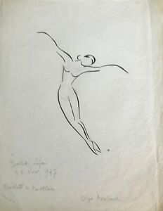 Lucienne-Pageot-Rousseaux-Drawing-Original-Ink-And-Pencil-Serge-Lifar