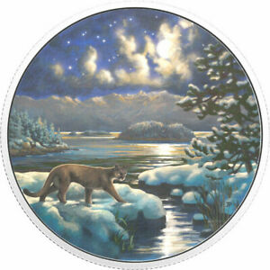 2017-Canada-Animals-in-the-Moonlight-Cougar-30-pure-silver-Glow-in-the-dark