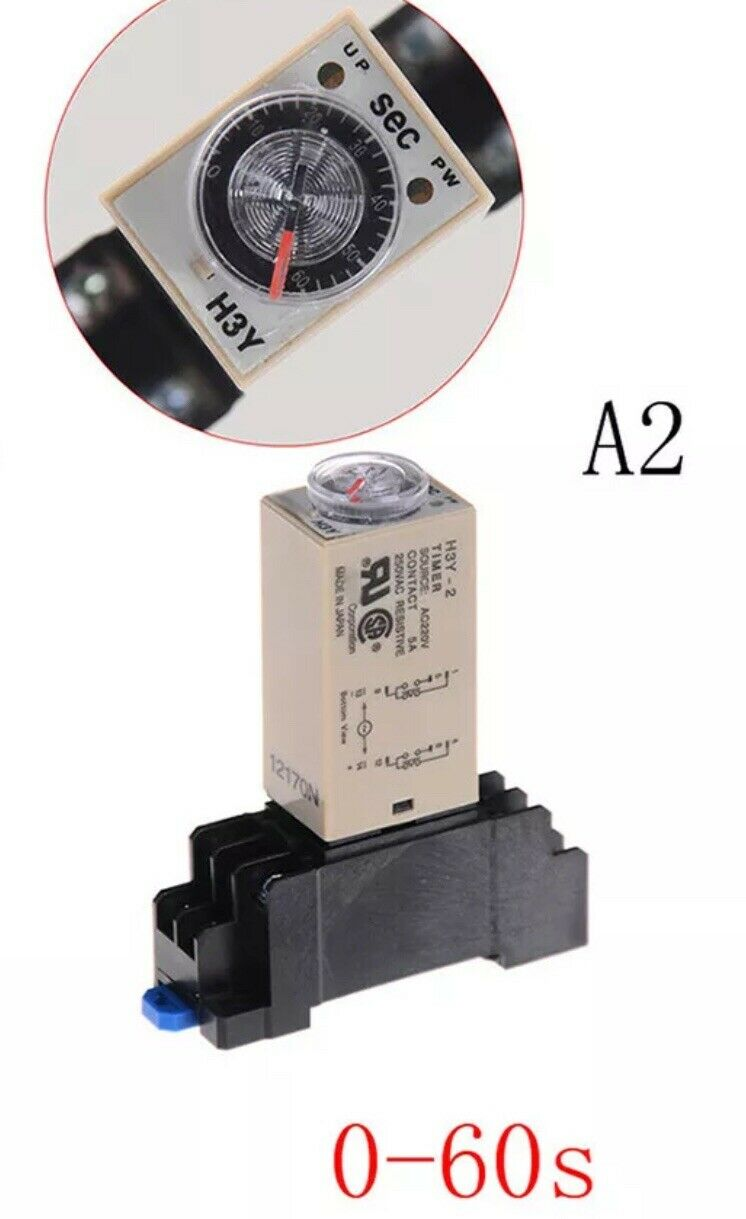 12V DC 5A 8 Pin 60s Timer Delay Relay and Socket Din Rail Base Mount DPDT PYF08A