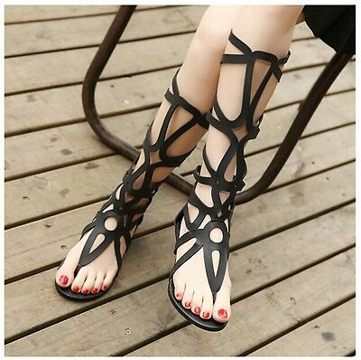 Sexy Women Strappy Open Toe Zipper knee high gladiator Sandals Boots Flat Shoes