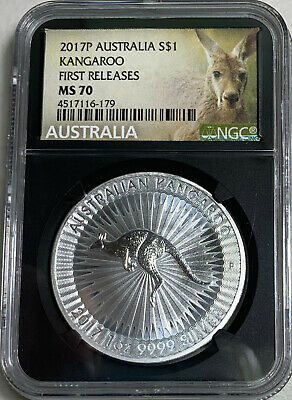 Flag Label 2017 Australia 1oz Silver Kangaroo NGC MS69