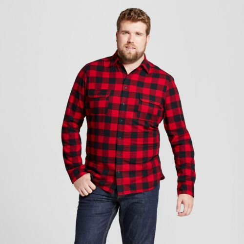 Goodfellow /& Co Men/'s Big /& Tall Red Plaid Standard Fit Flannel Shirt 2XB NWT