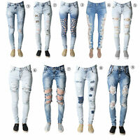 Ladies Womens Stretch Faded Ripped Slim Fit Skinny Denim Jeans Size UK 6 8 12 14