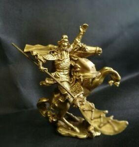 Chinese Fengshui Brass Warrior Guan Gong Guan Yu Hold Sword Ride horse Statue