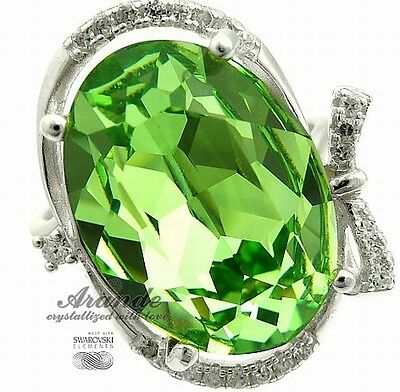 SWAROVSKI CRYSTALS UNIQUE RING PERIDOT STERLING SILVER CERTIFICATE