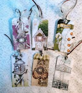 Set of 6 Hang Tags~Shabby Chic Floral Love~Gift Tags~Scrapbooking~Cards~#39R