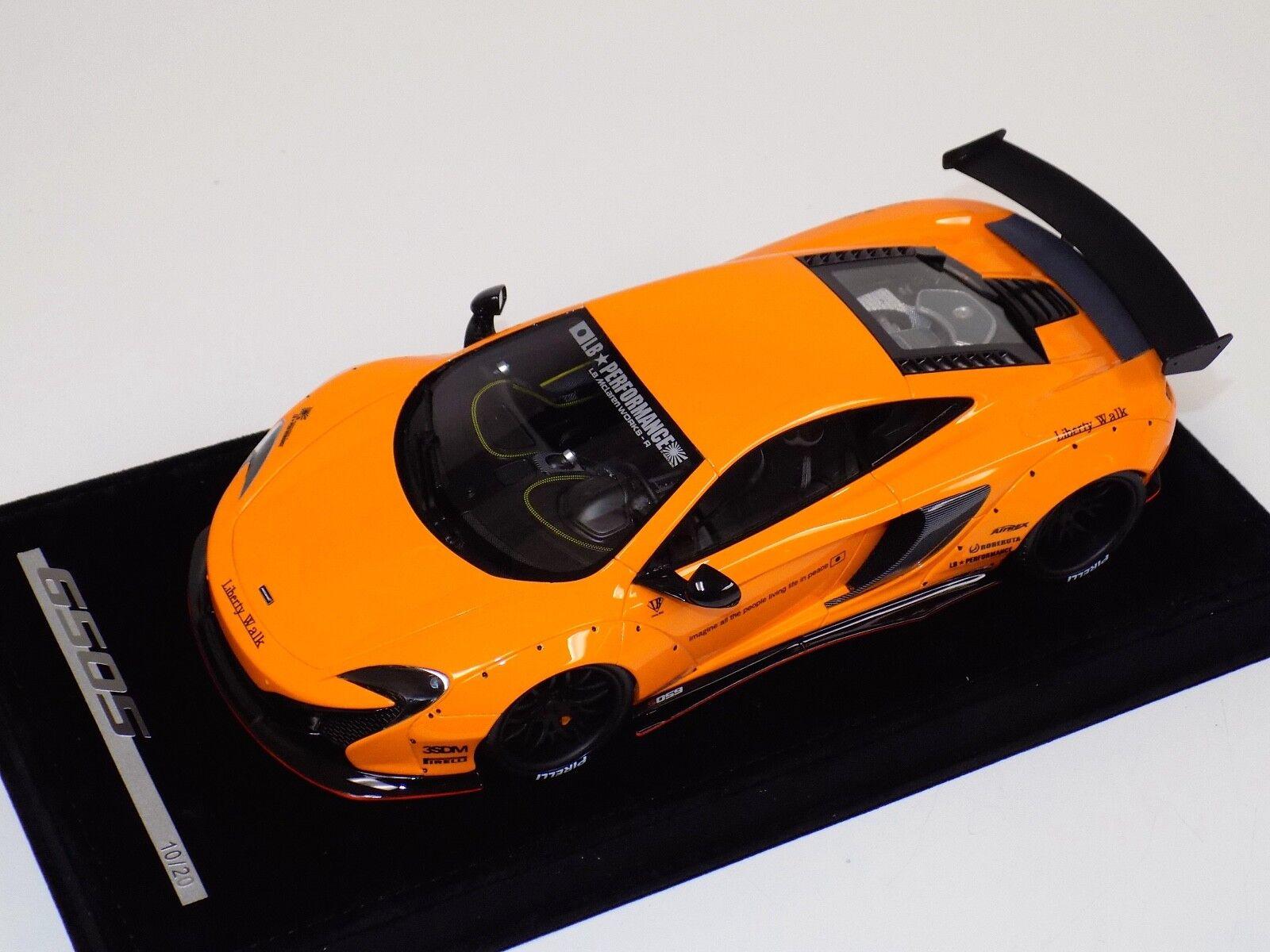 1/18 AB Models McLaren 650 S LB Performance Liberty walk arancia with Decals