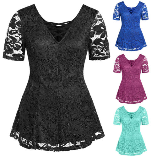 Women Short Sleeve Blouse T-Shirt Tops Ladies Lace Up V Neck Pullover Lace Tee