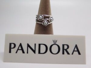 0b77c0612 New w Box Pandora 3 Three Wishes Gray Pearl Ring 190606GP Grey ...