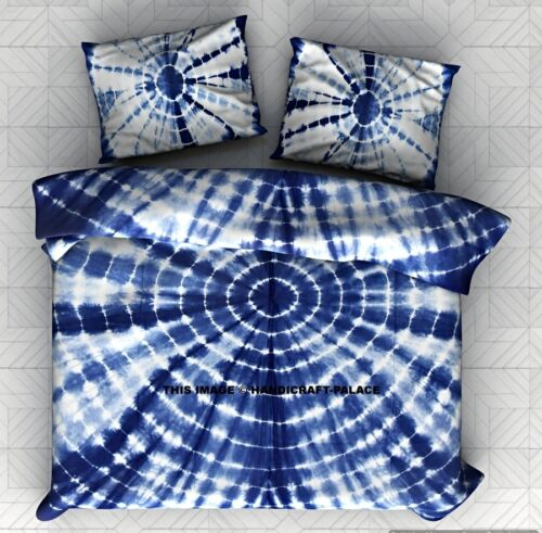 Shibori Indigo Blue With Two Pillow Covers Indian Tie Dye Bedspread Quilt Throw
