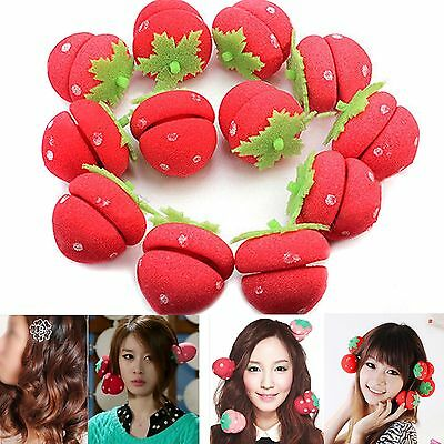 4Pcs/set Strawberry Balls Hair Care DIY Tool Soft Sponge Roll Rollers Curlers NE