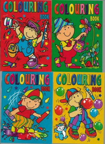 PARTY//LOOT BAGS-SMALL-GIFTS 4 A6 SIZE COLOURING BOOKS 16 PAGES IN EACH IDEAL