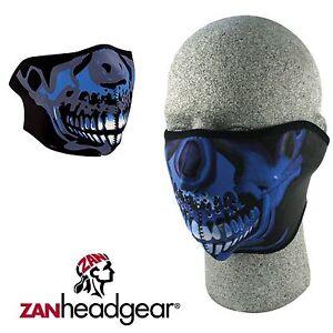7ffa7cd5303 Zan Headgear Neoprene Half Face Mask Blue Chrome Skull ATV Dirtbike ...