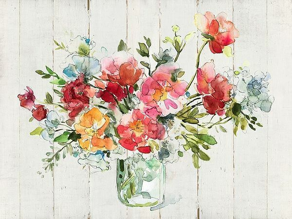 Carol Robinson  My Summer Garden I Keilrahmen-Bild Leinwand Blaumen-Strauß bunt