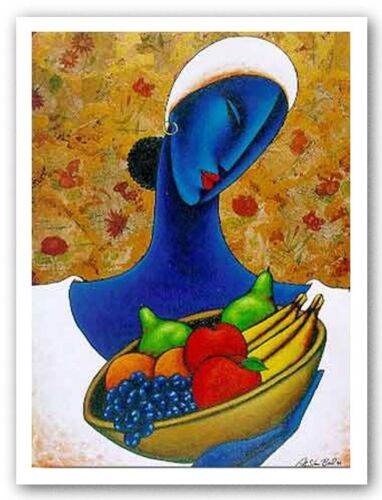 AFRICAN AMERICAN ART Indigo with Fruit by LaShun Beal