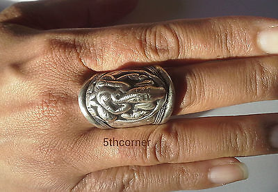 Adjustable Handmade Tibetan Buddhist Carved   with stones Amulet rings