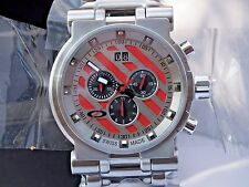 NEW OAKLEY HOLLOW POINT WATCH 26-305 RED FACE BRUSHED TITANIUM BRACELET