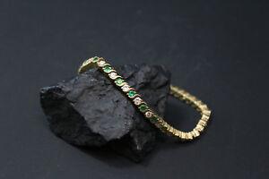 3-55-Ct-Round-Green-Emerald-amp-Diamond-14K-Yellow-Gold-Fn-Tennis-Bracelet-8-034
