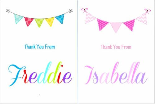 Girls Boys Childrens Kids Birthday {BF8} Personalised Thank You Cards Folded