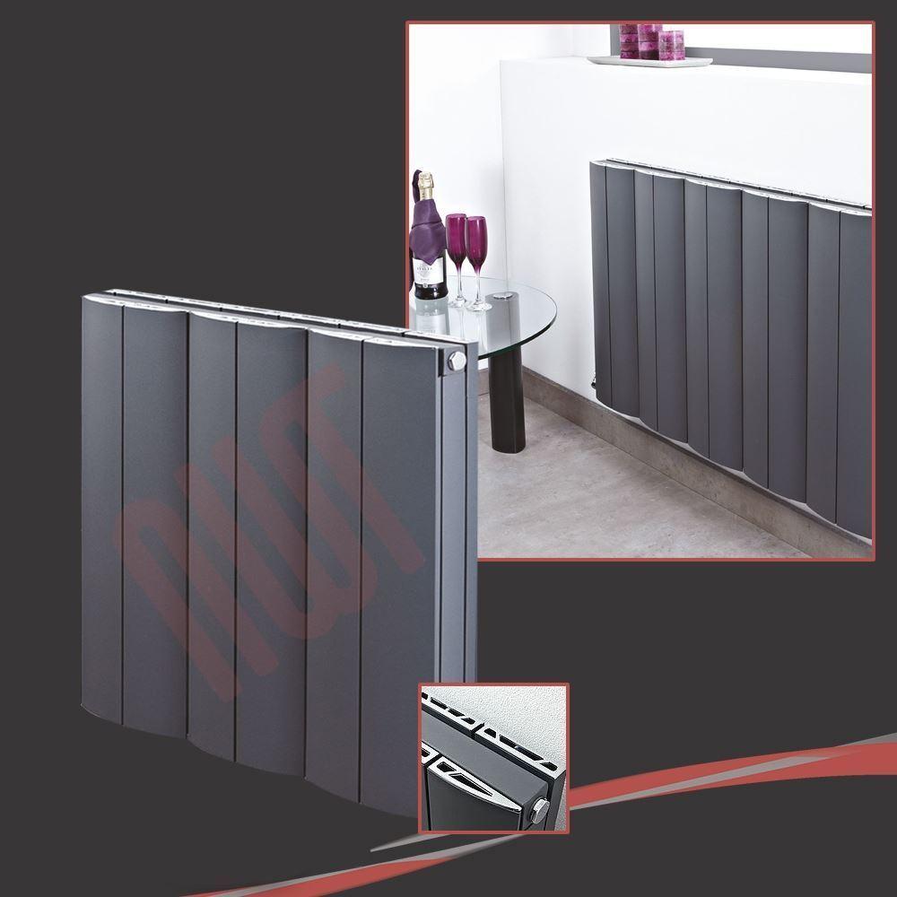 560 mm (w) x 600 mm (h)  Wave  Anthracite Horizontal radiateur en aluminium - 796 BTU