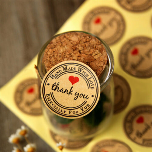 12//60//120pcs Thank You Hand Made with Love Especially for You Stickers Label JBJ