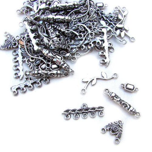 Los conectores plata color 50 trozo de joyas remolque vintage Mix-p00528x6