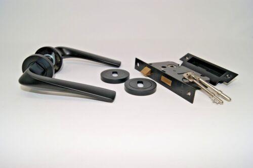 Rosso Maniglie Aries Black Finish Contemporary Italian Design Lever Handle Sets