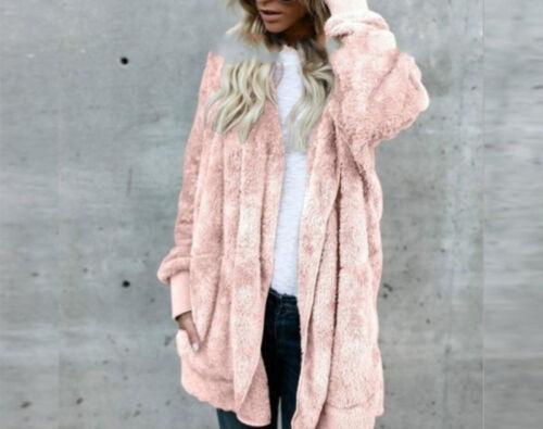 Frauen Winter Fluffy Dicker Mantel Pullover Langarm Hoodie Tops Cardigan Outwear