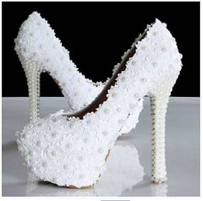 Ladies' Cream Lace Pearl Platform Princess High Heel Party Wedding Shoes Uk SZS