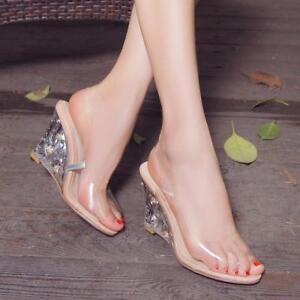 3b58d709de3 New Women s Clear Transparent Wedge Heels Fashion Sandals Peep Toe ...
