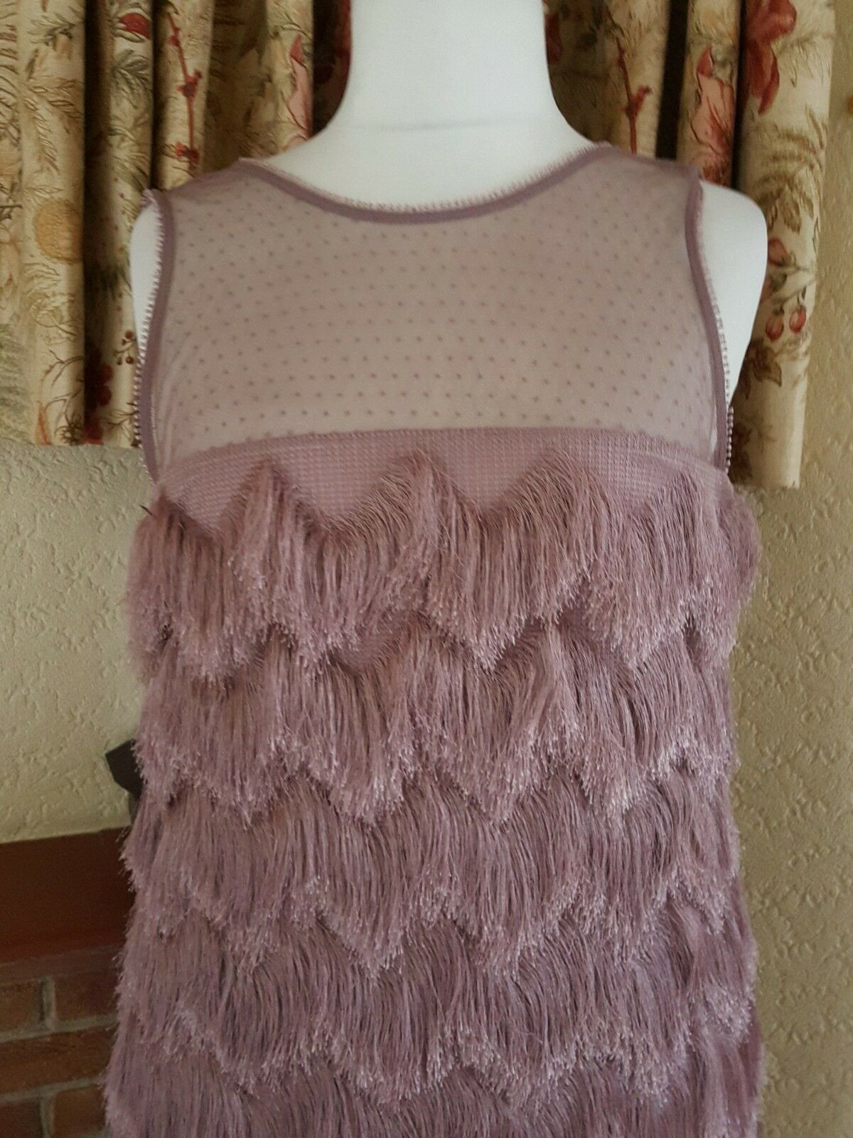 DUSKY PINK TASSEL MESH MESH MESH PARTY DRESS FROM RIVER ISLAND  SIZE 18 16  - SUMMER 78a06a