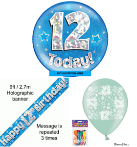 Image Is Loading Boys 12th Birthday Party Pack Giant Badge Banner